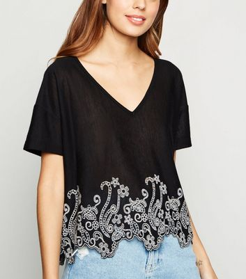 Black V Neck Embroidered T-Shirt