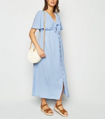 Maternity Pale Blue Tie Front Midi Dress