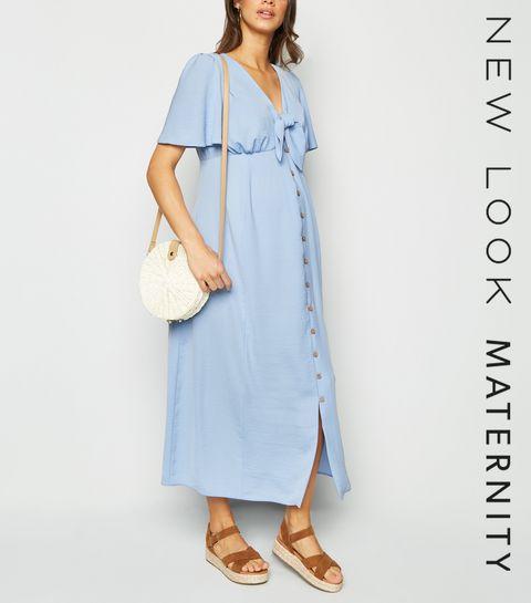 14583780ec ... Maternity Pale Blue Tie Front Midi Dress ...