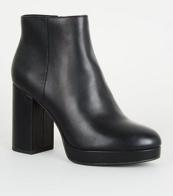 Black Leather-Look Platform Ankle Boots