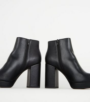 Black Leather,Look Platform Ankle Boots Add to Saved Items Remove from  Saved Items