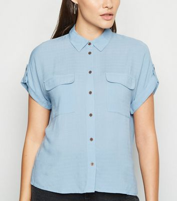 Blue Short Sleeve Utility Shirt