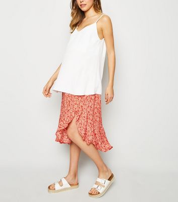 Maternity Red Floral Button Up Side Split Midi Skirt