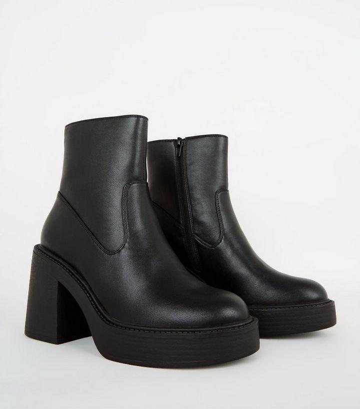 biggest discount authentic buying cheap Black Leather-Look Block Heel Platform Boots   New Look