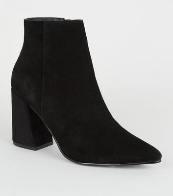 Black Suede Pointed Ankle Boots | New Look
