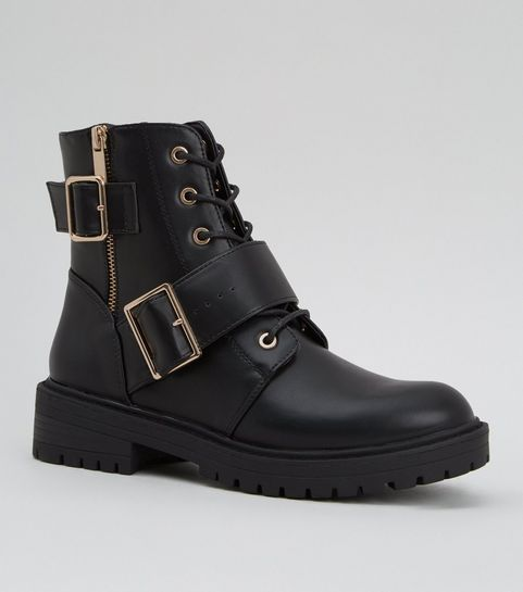 67e93a165661 ... Black Leather-Look Lace Up Buckle Boots ...