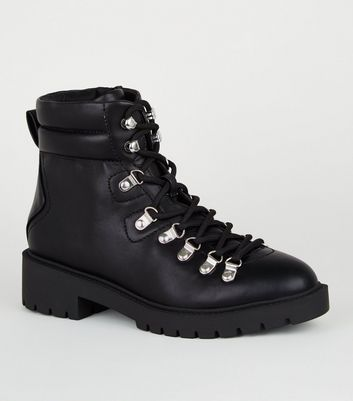 Black Leather Look Chunky Lace Up Boots
