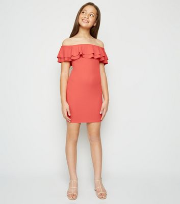 Girls Coral Frill Trim Bodycon Dress