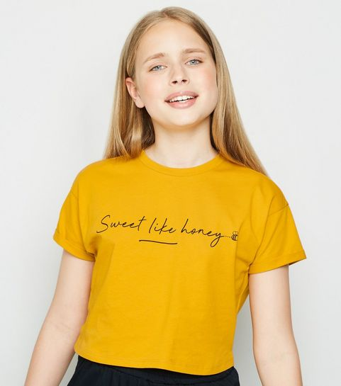 c389ea9768b87 ... Girls Mustard Sweet Like Honey Slogan T-Shirt ...
