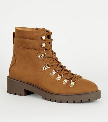 Click to view product details and reviews for Tan Suedette Lace Up Ankle Boots New Look Vegan.