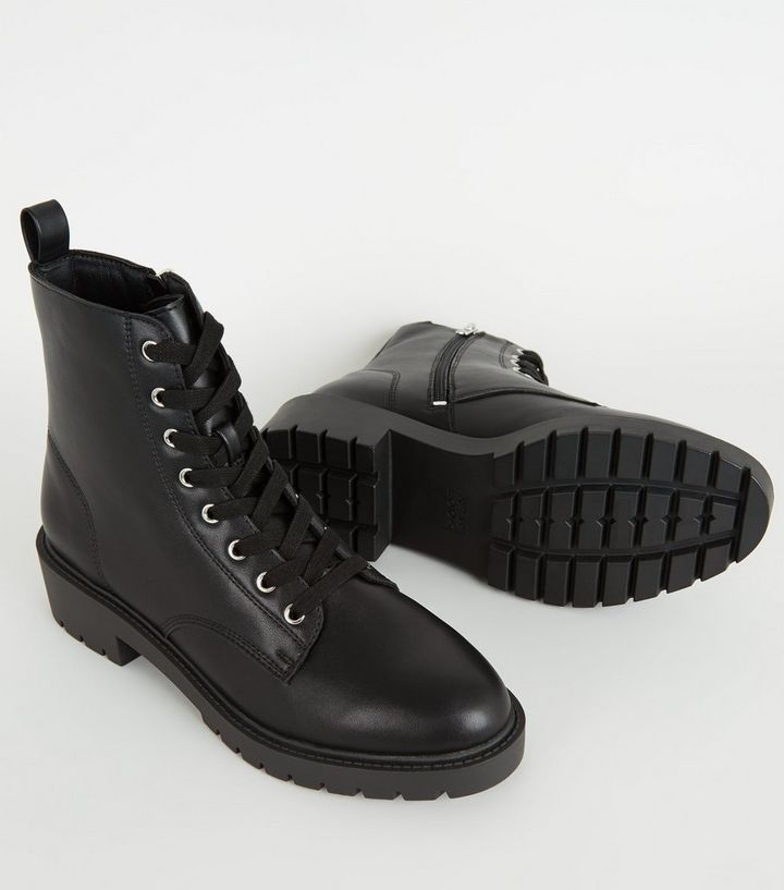 06ef098ebdb Black Leather-Look Chunky Lace Up Boots Add to Saved Items Remove from  Saved Items