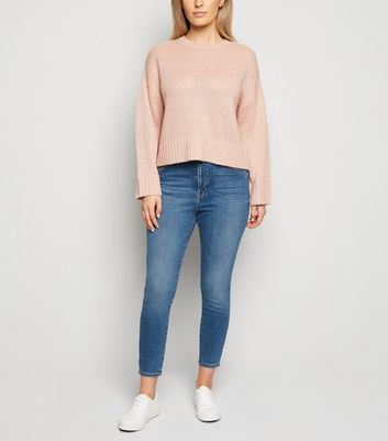 "Petite – Blaue ""Lift & Shape"" High Waist Skinny Jeans"