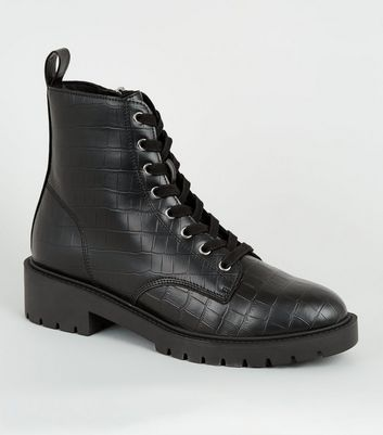 Black Faux Croc Lace Up Ankle Boots