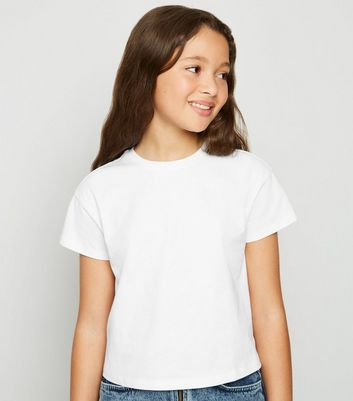 Girls White Boxy T-Shirt