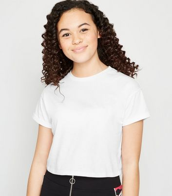 Girls White Roll Sleeve T-Shirt