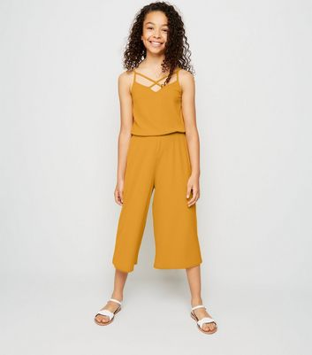 Girls Mustard Ribbed Lattice Strappy Jumpsuit