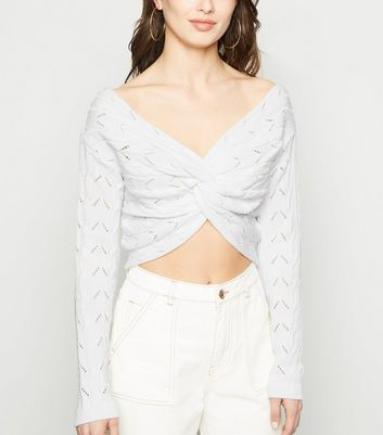 Carpe Diem Cream Pointelle Twist Crop Jumper