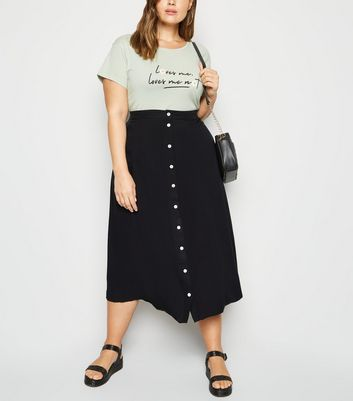 Curves Black Button Up Midaxi Skirt