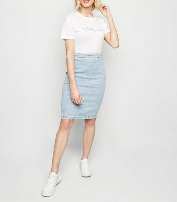 Pale Blue Acid Wash Denim Pencil Skirt