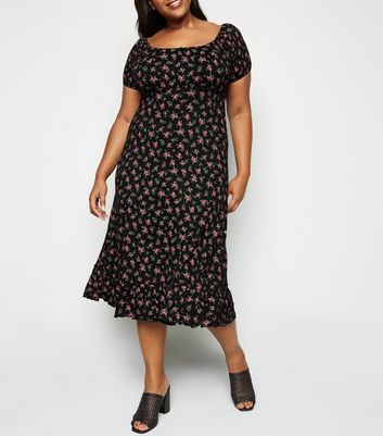 Curves Black Ditsy Floral Milkmaid Midi Dress