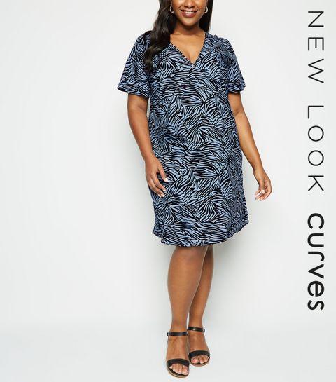 c121fd0757f ... Curves Blue Zebra Print Mini Dress ...