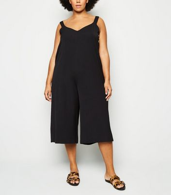 Curves Black Button Wide Leg Jumpsuit