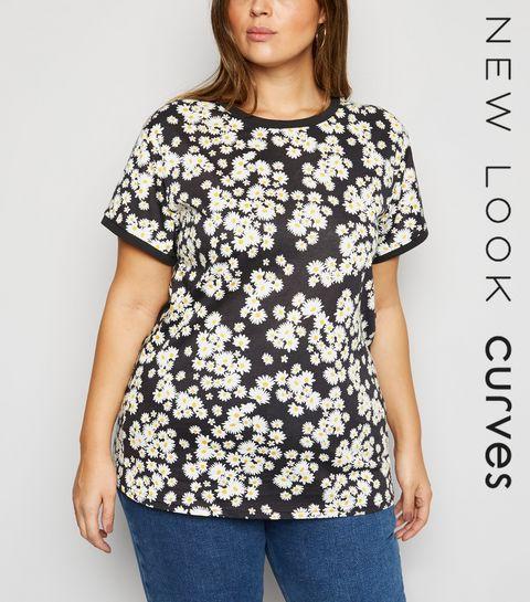 619639445e57b7 ... Curves Black Daisy Ringer T-Shirt ...