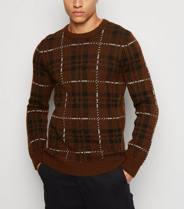 15de510ef9f Brown Check Long Sleeve Jumper Add to Saved Items Remove from Saved Items