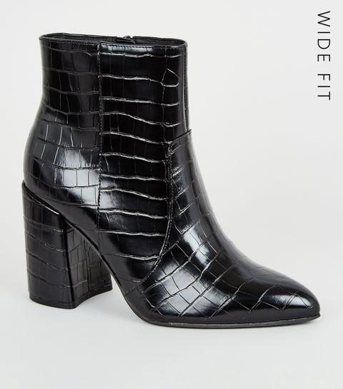 1b79d61b0 ... Wide Fit Black Faux Croc Flared Heel Boots ...