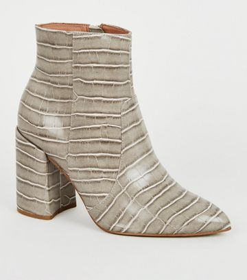 Wide Fit Grey Faux Croc Flared Heel Boots