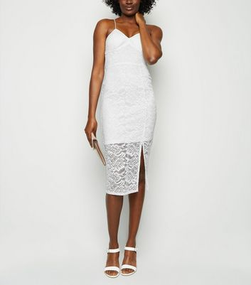 White Lace Bustier Midi Dress