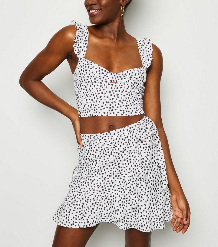 95080efe47 White Spot Ruffle Trim Mini Skirt | New Look