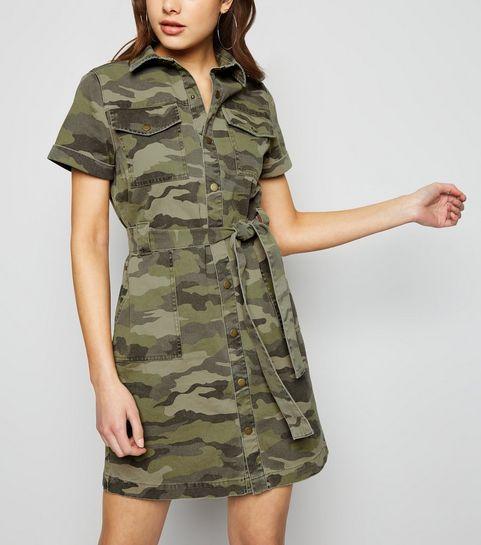 38187b5a14b ... Green Camo Denim Shirt Dress ...