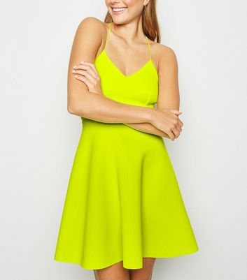 Green Neon Scuba Strappy Skater Dress