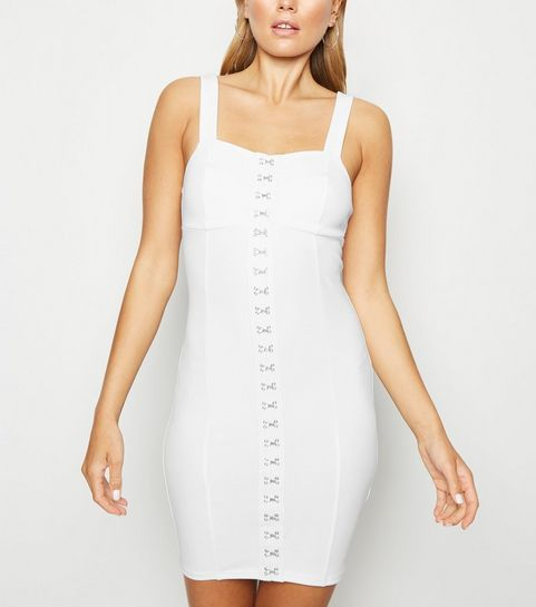 5fab7708f16c5e ... White Hook And Eye Bodycon Dress ...