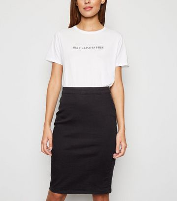 Black Zip Back Denim Pencil Skirt
