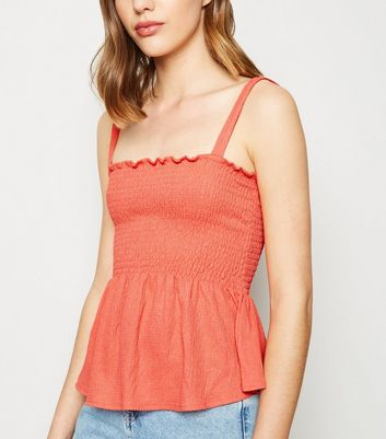 Coral Shirred Frill Peplum Cami
