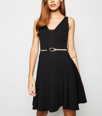 Black Mesh Panel Belted Skater Dress