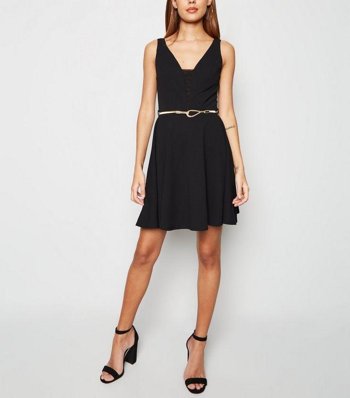 596327b104 ... Black Mesh Panel Belted Skater Dress. ×. ×. ×. Shop the look