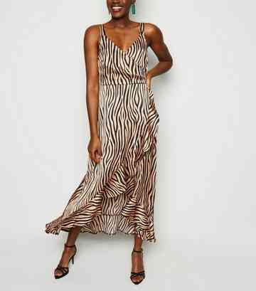 18f63cd16799 Brown Satin Tiger Print Ruffle Midi Dress ...