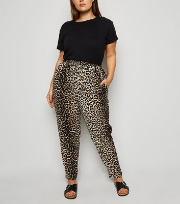 Curves Brown Animal Print Joggers