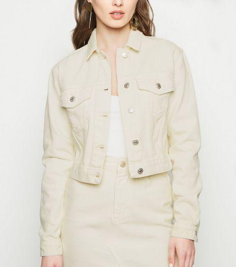 3d565e1f4a6 ... Off White Button Front Crop Denim Jacket ...