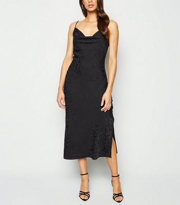 Black Satin Tiger Jacquard Midi Dress