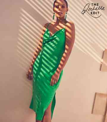 Green Satin Tiger Jacquard Midi Dress
