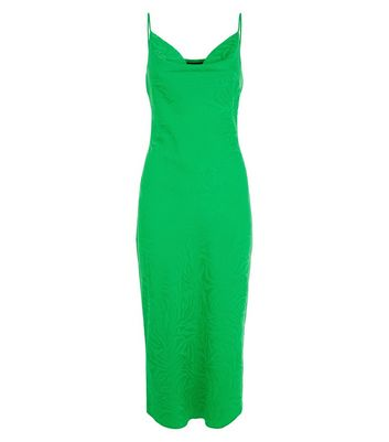 Green Satin Jacquard Midi Dress