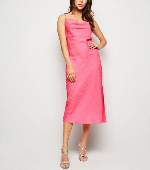 b99bfc14047 ... Bright Pink Satin Tiger Jacquard Midi Dress ...