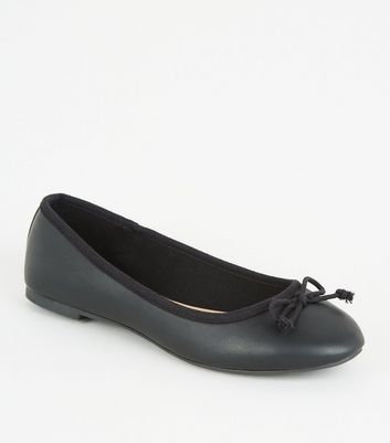 Black Leather-Look Bow Front Ballet Pumps