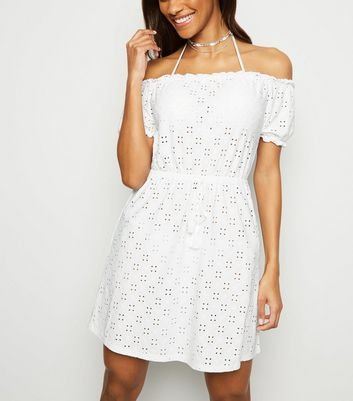White Broderie Bardot Beach Dress