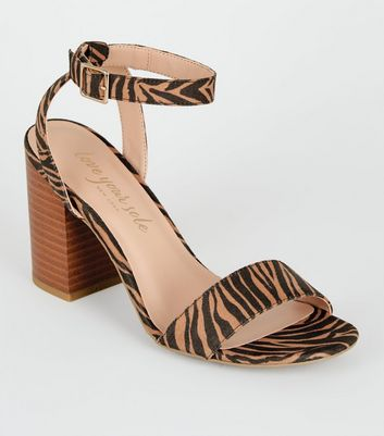 Brown Tiger Print Suedette Wooden Block Heels