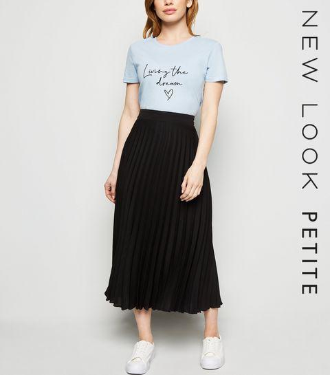 c5c563d2e4a ... Petite Black Pleated Midi Skirt ...